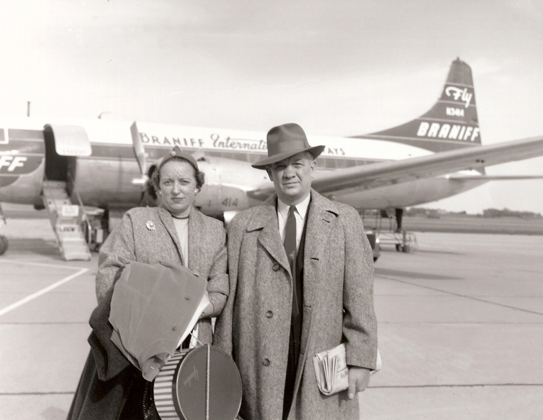 Mr. & Mrs. George M. Strayer leaving Waterloo, Iowa, enroute to Japan in October 1955. Strayer, a farmer-seedsman living in Hudson, Iowa, was ASA's first executive officer and served as the Executive Vice President and Secretary-Treasurer of the Association from November 1940 through April 30, 1967. (American Soybean Association archive photo)